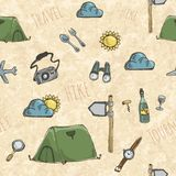 Pattern with expedition tents. Seamless background pattern with expedition tents. Retro style. Vector illustration Royalty Free Stock Photo