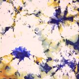 Pattern on the fabric, background texture, multi-colored spots, blots, flowers, foil, stars, violets, stock illustration