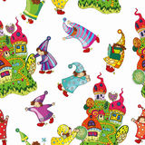 Pattern of the fabulous houses and magic little gnomes. Cheerful pattern of the fabulous houses and magic little gnomes on a white background,  illustration Royalty Free Stock Photo