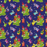 Pattern of the fabulous houses and magic little gnomes. Cheerful pattern of the fabulous houses and magic little gnomes on a white background, vector Royalty Free Stock Photo