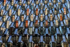 Pattern of the facade of a modern office building from steel and glass stock photo