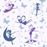 Pattern with fairy vector Stock Image