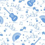 Pattern with fan, shoes, castanets, notes, guitars
