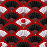 Pattern of fans. Vector seamless pattern with fans in black and white colors. Asian traditional design on red background Stock Photos