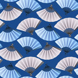 Pattern of fans. Vector seamless pattern with fans in blue and silver colors. Asian traditional design Royalty Free Stock Image