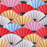 Pattern of fans. Vector seamless pattern with fans in red, pink, blue, silver and golden colors. Asian traditional design Stock Images