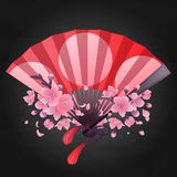 Pattern of fans. Vector seamless pattern with fans in red, pink, blue, silver and golden colors. Asian traditional design Stock Photo