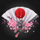 Pattern of fans. Vector seamless pattern with fans in red, pink, blue, silver and golden colors. Asian traditional design Royalty Free Stock Images
