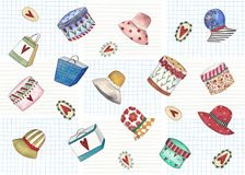 Pattern with fashion objects over white background Royalty Free Stock Photography