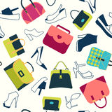 Pattern of fashion Women bags shoes. Colorful Background of fashion bags and women shoes in Flat design - Illustration stock illustration