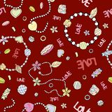 Pattern of fashionable chains and beads for women on a bright re vector illustration