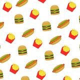 Pattern fast food and junk food Royalty Free Stock Images