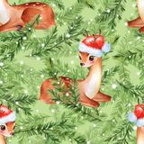 Pattern with fawns and fir tree 2. Watercolor floral pattern with fawns and fir tree Stock Images