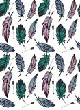 Pattern of feathers and arrows stock illustration