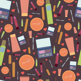 Pattern Female features. Images popular female beauty items collected in a female beautician royalty free illustration