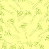 Pattern with fennel inflorescence. Seamless pattern with fennel inflorescence  on yellow background Stock Photo