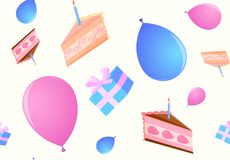 Pattern of festive cakes, boxes with a gift and balloons. On a gentle yellow background Stock Images