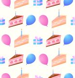 Pattern of festive cakes, boxes with a gift and balloons. On a gentle yellow background Stock Image