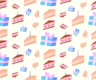 Pattern of festive cakes and a bright gif. T on a gentle yellow background Stock Photography
