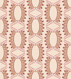 Pattern with figured ovals and diamonds. In shades of brown on a beige background Royalty Free Stock Photo