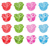 Pattern Filled Roses Stock Images