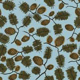 Pattern with fir cone and twig. Seamless texture pattern with fir cones and twigs. blue background. Use as a pattern fill, backdrop, surface texture Royalty Free Stock Photos