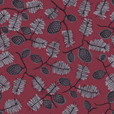 Pattern with fir cone and twig. Seamless texture pattern with fir cones and twigs. red dark background. Use as a pattern fill, backdrop, surface texture Stock Images