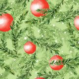 Pattern with fir tree branches and christmas balls. Watercolor seamless pattern with fir tree branches and christmas balls Royalty Free Stock Photos
