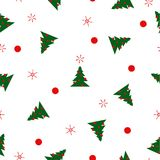 Pattern fir trees, balls, snowflakes, dots on white background. Seamless pattern green Christmas fir trees with red balls, snowflakes and dots on white Royalty Free Stock Photo