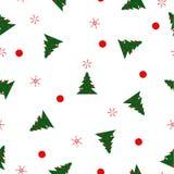 Pattern fir trees, balls, snowflakes, dots on white Royalty Free Stock Photo
