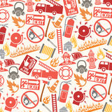 Pattern with firefighter icons and symbols Royalty Free Stock Photo