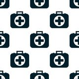 Pattern of the first aid kit isolated on white background. Seamless pattern of the first aid kit isolated on white background. Flat design  Illustration Royalty Free Stock Image