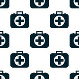 Pattern of the first aid kit isolated on white background. Seamless pattern of the first aid kit isolated on white background. Flat design Vector Illustration Royalty Free Stock Photo