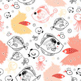 Pattern of fish. Seamless pattern of graphic fish and jellyfish on a white background Royalty Free Stock Images