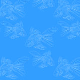 Pattern  fish on a blue background loop. Vector template of fish on a blue background with white outline Royalty Free Stock Photo