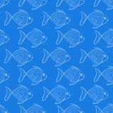 The pattern of the fish on a blue background. Seamless image. White contour. Shoals of fish Stock Photos