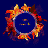 Pattern  fish on a blue background. Vector drawing fish bright colors , goldfish, background contour drawing of fish in the center space for text in the circle Stock Photos