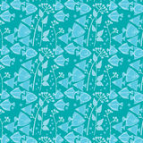 Pattern of fish in blue tones Stock Photos