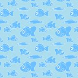 Pattern with fish in cartoon style. Illustration Stock Image