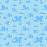 Pattern with fish in cartoon style. Vector. Illustration Royalty Free Stock Photos
