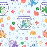 Pattern Fish color. Funny fish outline pattern on white background Stock Image