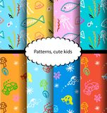 Pattern fish and colorful designs cars Stock Image