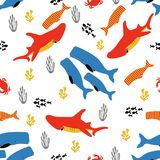 Pattern with fish and coral. Pattern with fish, coral and seaweed, colored background with sea elements, wallpaper with underwater inhabitants Royalty Free Stock Image