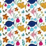 Pattern with fish, corals, starfish Stock Photo