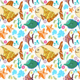 Pattern with fish, corals, starfish. White background Royalty Free Stock Photography