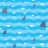 Pattern fish and fins sharks swimming in blue sea. Sharks pattern. Pattern fish and fins sharks swimming in blue sea. Sharks and fish swimming in sea seamless Stock Image
