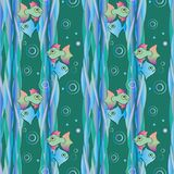 Pattern with fish. Green water and bright fish Stock Photography