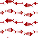 Pattern with fish skeletons. Seamless pattern with red fish skeletons on white background Royalty Free Stock Photos