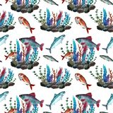 Pattern with fish royalty free illustration