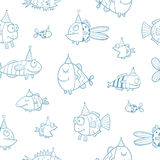 Pattern with fishes. Birthday seamless pattern with cute cartoon fishes  in party hat  on  white background. Underwater life. Funny sea animals. Children's Stock Images